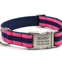 Preppy Layered Stripe Dog Collar with Personalized Buckle - Hot Pink/Navy