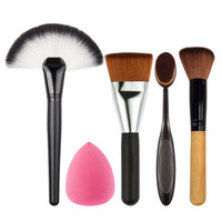 5 PCS/Set Makeup Powder Blush Foundation Brush+Sponge Puff+Large Fan Contour Brush Make Up Brushes Tool Cosmetics Kits