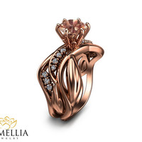 14K Rose Gold Morganite Ring Uniqe Engagement ring Leaf Design