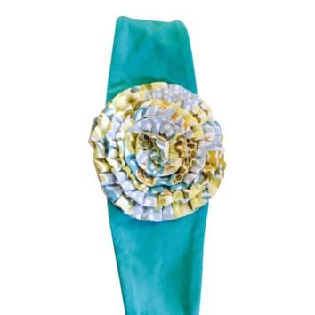 Millie Jay one flower aqua turkey headband.