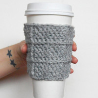 Waffle Stitch Coffee Cozy in Light Grey, Wool Blend, ready to ship.