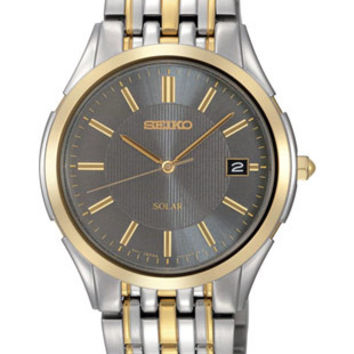 Seiko Solar Mens Watch - Charcoal Gray Dial - Stainless w/ Gold-Tone - 50M WR