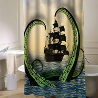 Cool Nautical Shower Curtain, Octopus vs. Pirate Ship custom shower curtain for bathroom ideas