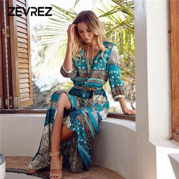 Summer Women Long Maxi Dresses Bohemia V-neck Three Quarter Sleeve Floral Print Beach Female Split Stylish Style Dress Zevrez