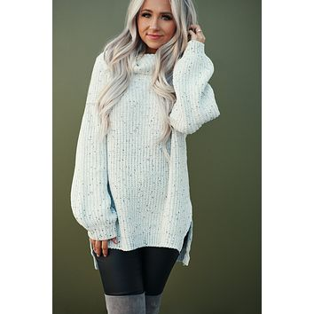 Trina Knitted Cowl Neck Sweater (Heather Grey)