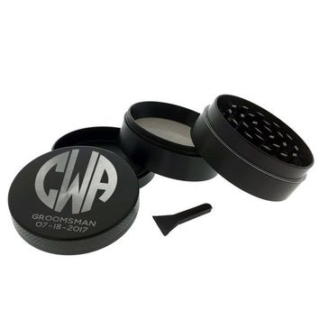 Personalized Grinder Initials Title & Date Premium Engraved 4 Layer Metal  Square Old School Custom Herb Tobacco Grinder Pollen Collector