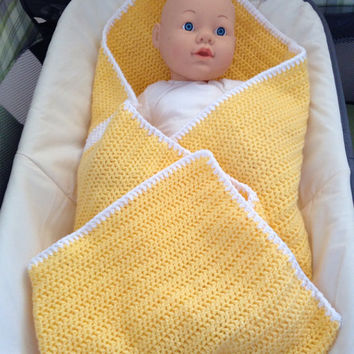Yellow with white stripe baby blanket