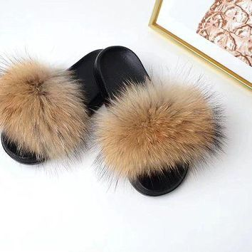 VONEF3L Raccoon Fur Sandals Furry Flip Flips Women Fashion Slippers Sandals Brown genuine real fluffy Pompoms Women Shoes