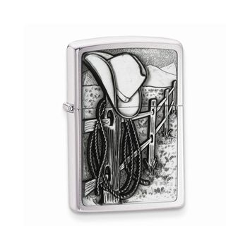 Zippo Resting Cowboy Brushed Chrome Lighter - Engravable Personalized Gift Item