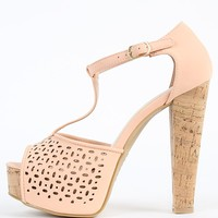Bamboo Clarice-08 Cut Out T Strap Cork Heels | MakeMeChic.com