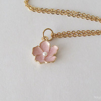 Pink Flower Necklace - Sakura Flower Necklace - 16k Gold Plated Over Brass - Cherry Blossom Floral Necklace
