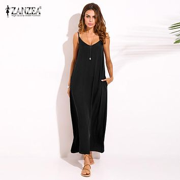ZANZEA 2017 Summer Style Women Boho Strapless Sexy V Neck Sleeveless Dress Casual Loose Long Maxi Solid Dress Vestidos Plus Size