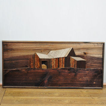 1980's Artist In Wood John W. Long Reclaimed Wood Framed Barn Art Sculpture