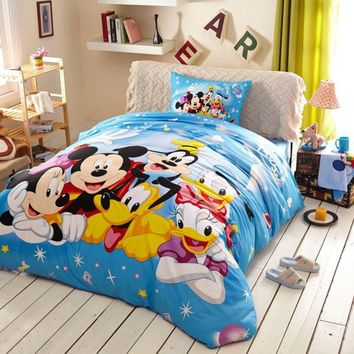 Light Sky Blue Color Mickey and Friends Bedding Set | EBeddingSets