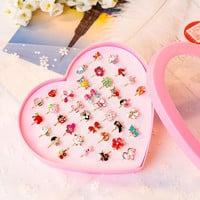 10Pieces/Lot  Love Kids Cute Sweet Rings Design Flower Animal Fashion Jewelry Accessories Girl Child Gifts Finger Rings  FS11402