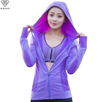 B.BANG Women Running Zipper Hooded Jackets Sports Long-sleeved Coats Fitness Yoga Workout Outerwear for Woman
