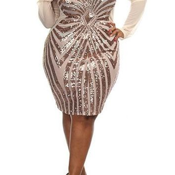 Champagne Splicing Oversized Geometric Sequin Grenadine See-through Bodycon Plus Size Mesh Midi Dress