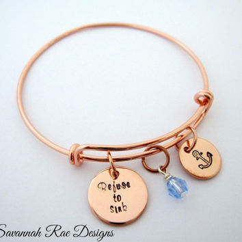 Refuse to sink expandable bangle. Anchor jewelry. Inspiration bracelet. Handstamped bangle