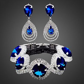 Fashion Wedding Bridal Jewelry Sets For Women Rhinestone Austrian Crystal Jewelry Set Bracelet Earrings Set Indian