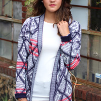 Wednesday Sweater Cardigan {Pink + Navy}