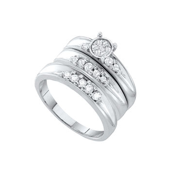 10kt White Gold His & Hers Round Diamond Cluster Matching Bridal Wedding Ring Band Set 3/8 Cttw 56489