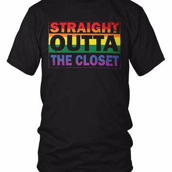 Straight Outta The Closet - Gay and Lesbian Pride T-Shirt LGBT