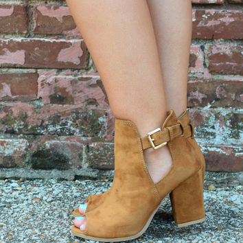 Tan Peep Toe Buckle Booties