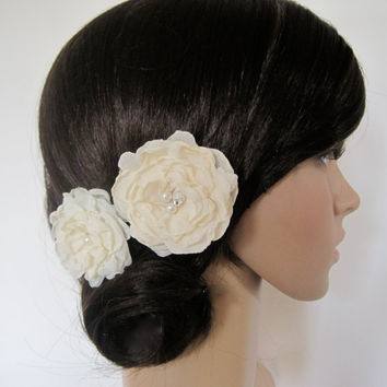 Shades of Ivory Chiffon Wedding Flower Hair Clip Set, Bride,  Bridesmaid, Mother of the Bride Prom with Faux Pearl Accents