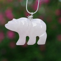 Rose Quartz Stone Bear Pendant Necklace ~ Sterling Silver Chain ~ Pink Polar Bear ~ Carved Stone ~ Healing Stone ~ Sweetheart Gift