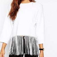 ASOS TALL Top In Structured Knit With Fringing