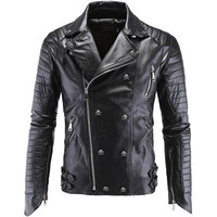 Men's Stylish Faux Leather Skull Motorcycle Jacket