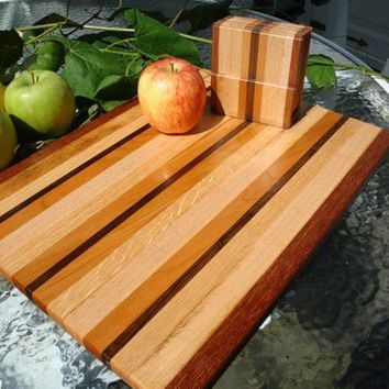 Handmade Medium Wood Cutting Board with Matching Coasters - Black Walnut & Cherry