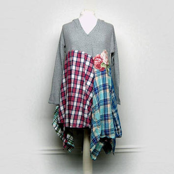 Long Flannel Tunic, Hooded Tunic, Lagenlook, Boho Chic Clothing, Anthropologie Style Clothing, Upcycled Clothing by Primitive Fringe