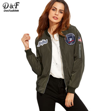 Dotfashion Army Green Embroidered Patch Zipper Stand Collar Coat Women Fashion Long Sleeve Bomber Jacket