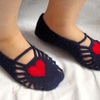 Turkish Home Slippers Red Heart Shoes Hand by SmilingKnitting