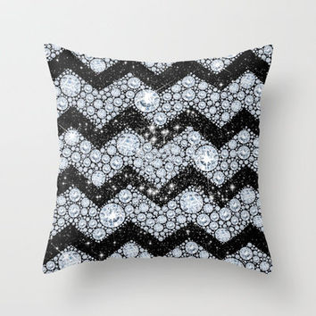 CHEVRON - Diamonds and Stars Throw Pillow by Belle13