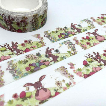 Rabbit tape 10M cute bunny washi tape farm animal deco tape sticker cartoon rabbit forest animal mushroom tape scrapbook planner gift 2016