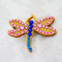 Coraline Dragonfly Barrette Gold Pink and Blue for Halloween Costume