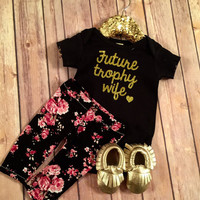 Future Trophy Wife Bodysuit Tee, Gold Sparkle baby shower gift, Baby girl clothes, Gold Glitter Future Trophy Wife Shirt, Hipster Baby