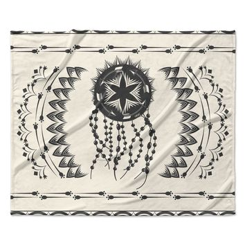 "Famenxt ""Bohemian Dream Catcher Boho"" Black Beige Fleece Throw Blanket"