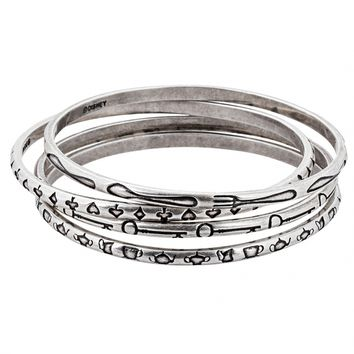 White Gold Plated Alice In Wonderland Symbols Stacking Bangles from Disney Couture