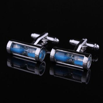 Unique Rare Mens Dress Hourglass Cufflinks For Business Shirt Party Blue