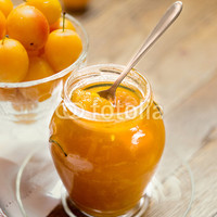 """Plum jam in jar, jam of yellow plums"" Stock photo and royalty-free images on Fotolia.com - Pic 91954543"