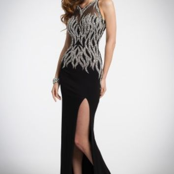 Illusion Halter Dress with Beads