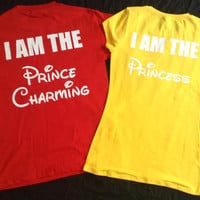 Free Shipping For US Disney Princess and Prince Couples Shirt Red and Yellow(color)