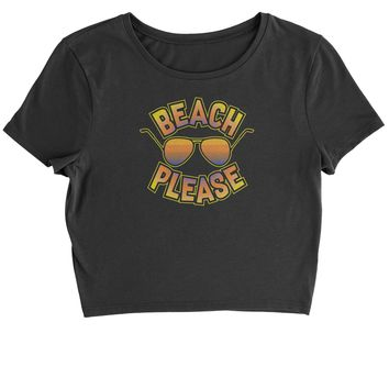 Beach Please Sunglasses Cropped T-Shirt
