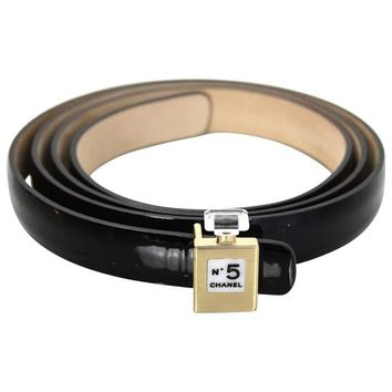 Chanel Black Patent Leather No. 5 Belt sz 36/90