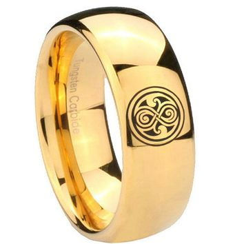 8MM Mirror Dome Doctor Who 14K Gold IP Tungsten Carbide Laser Engraved Ring