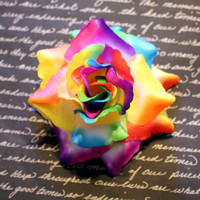 Awesome Rainbow Rose Flower Hair Clip - Pinup Rockabilly Accessory