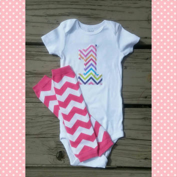 Colorful Chevron First Birthday Outfit - Pink - Personalized - Second Birthday - Baby Girl - Leg Warmers - Photo Prop - Summer Birthday